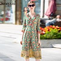 Svoryxiu Summer Silk Vintage Dress Women's Runway Designer V neck Flowers Printing Casual Vacation Dresses