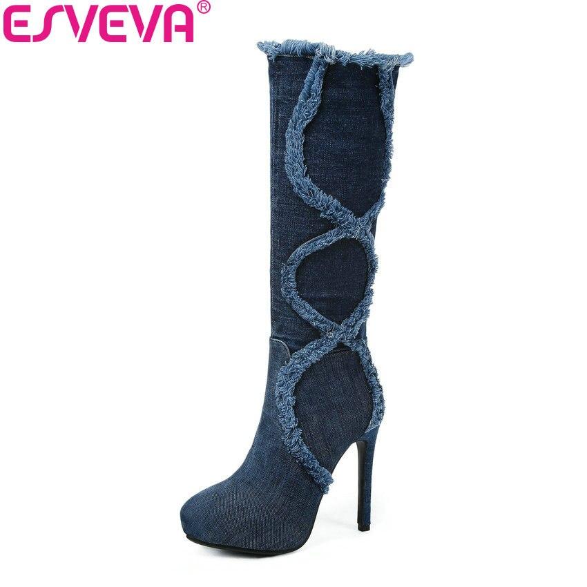 ESVEVA 2019 Platform Women Boots Knee-high Boots Denim Thin High Heels Pointed Toe Winter Shoes Elegant Long Shoes Woman 34-43 enmayla women high heels platform bling knee boots winter pointed toe shoes woman red black long boots