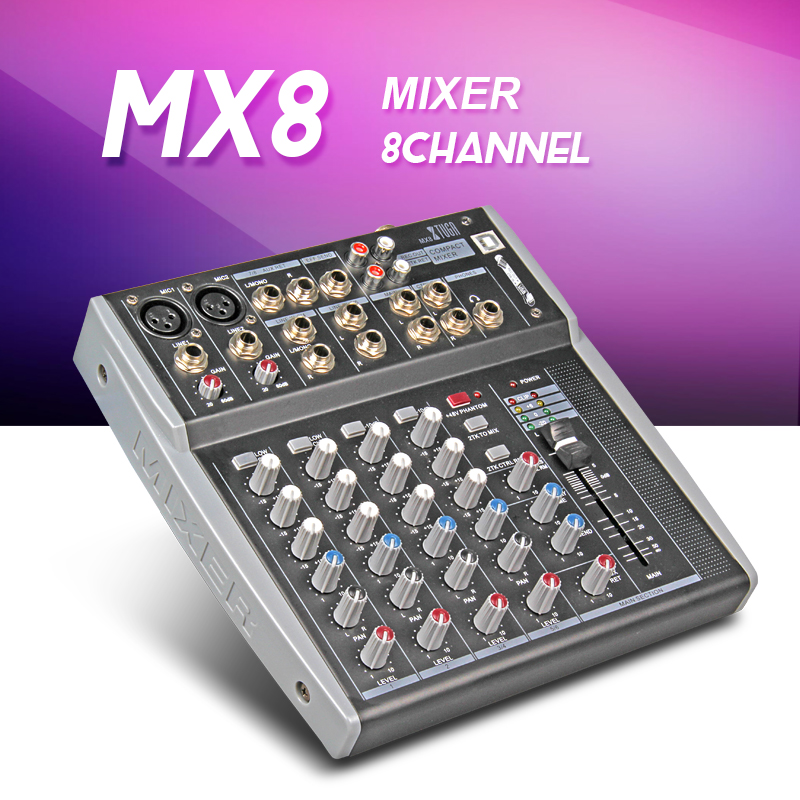 M8 8Channels 3-Band EQ Audio Music Mixer Mixing Console with USB XLR LINE Input 48V Phantom Power for Recording DJ Stage Karaoke audio mixer cms1600 3 cms compact mixing system professional live mixer with concert sound performance digital 24 48 bit effects