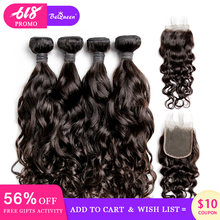 BeQueen Brazilian Hair Weave 4 Bundles With Closure Water Wave Human Hair Bundles With Closure Raw Virgin Human Hair Extension(China)