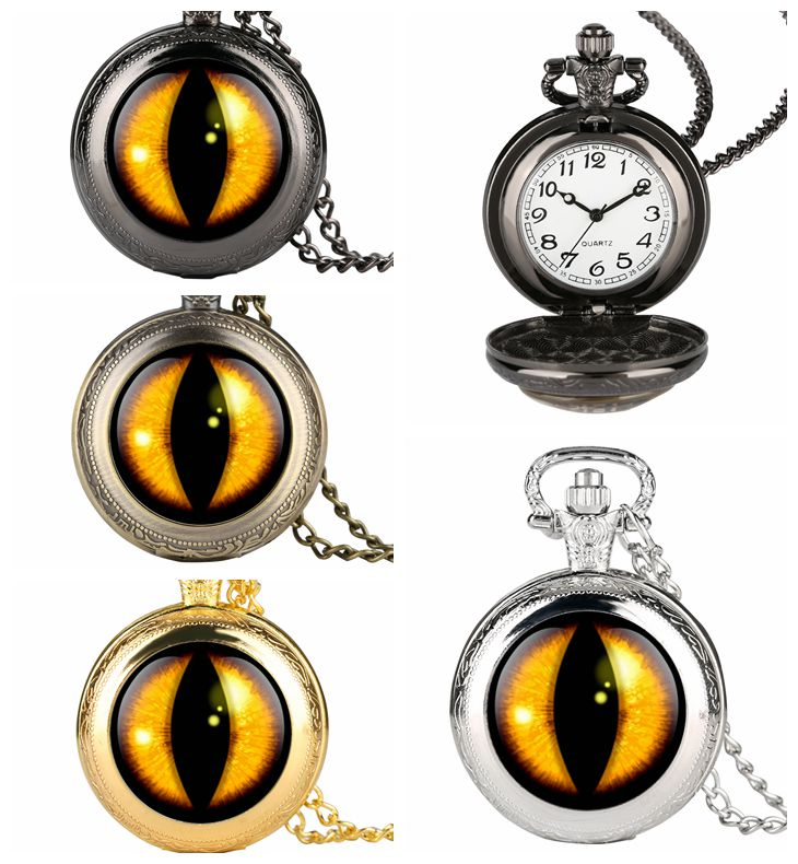 Unique Mens Pocket Watch Yellow Vertical Pupil Design Pocket Watch For Boy Arabic Number Pocket Watches For Teenager