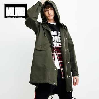 MLMR Men's Letter Printed Hooded Trench Coat Long Jacket JackJones Menswear 218309504 - DISCOUNT ITEM  45% OFF All Category