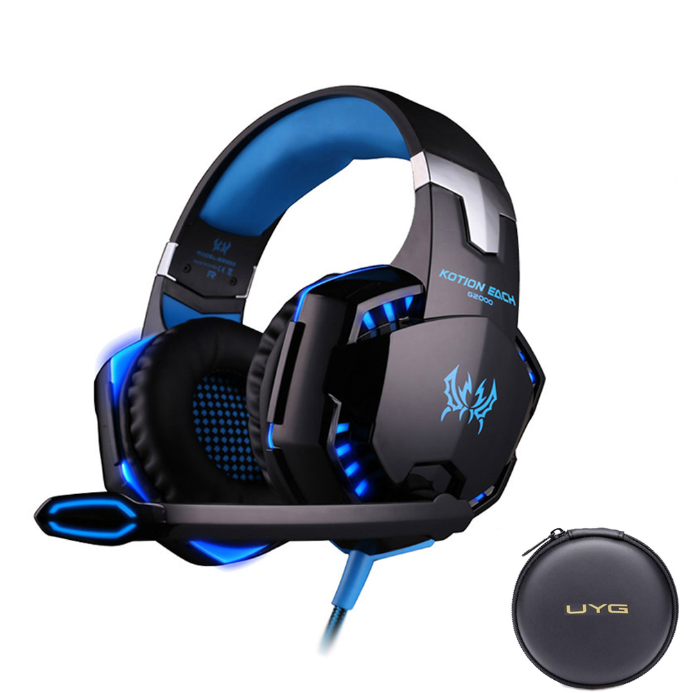 UYG G2000 Wired Gaming Headset gamer gaming Headphones earphones With Microphone LED Light headphone for computer PC image