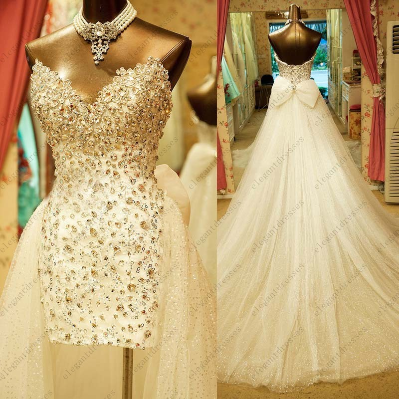 Luxury Beaded Top V Neck Bridal Gown Short Two Piece Wedding Dress Mini Dresses Backless Bow With Detachable Skirt In From
