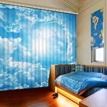 Landscap 3d шторы белые облака украшения окна 3D шторы стереоскопические затемненные фото HD комнаты печатных шторы