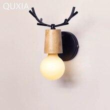 QUXIA светодио дный светодиодный настенный светильник деревянный Утюг Nordic Винтаж современный Лофт ванная комната спальня гостиная прикроватной тумбочке