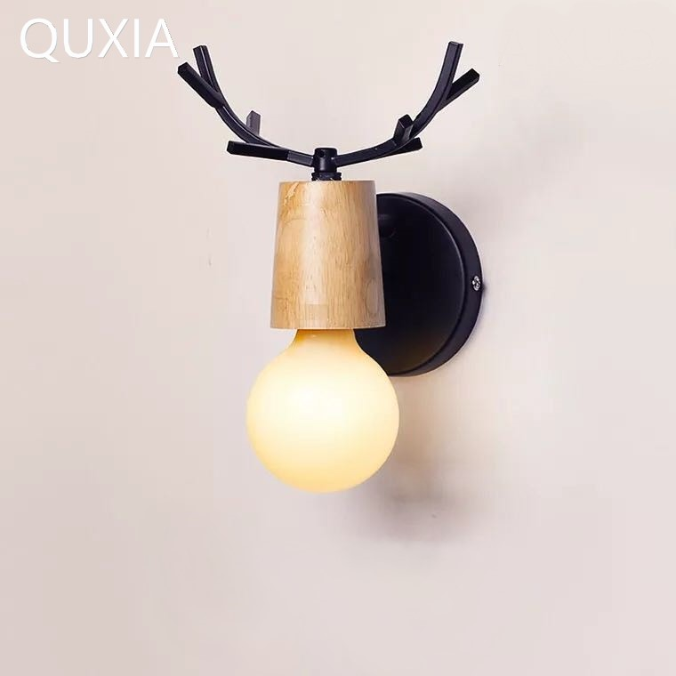 QUXIA LED <font><b>Wall</b></font> <font><b>Lamp</b></font> Wooden Iron <font><b>Nordic</b></font> Vintage Modern Loft Bathroom Bedroom Living Room Bedside Stair Creative Home Lights image