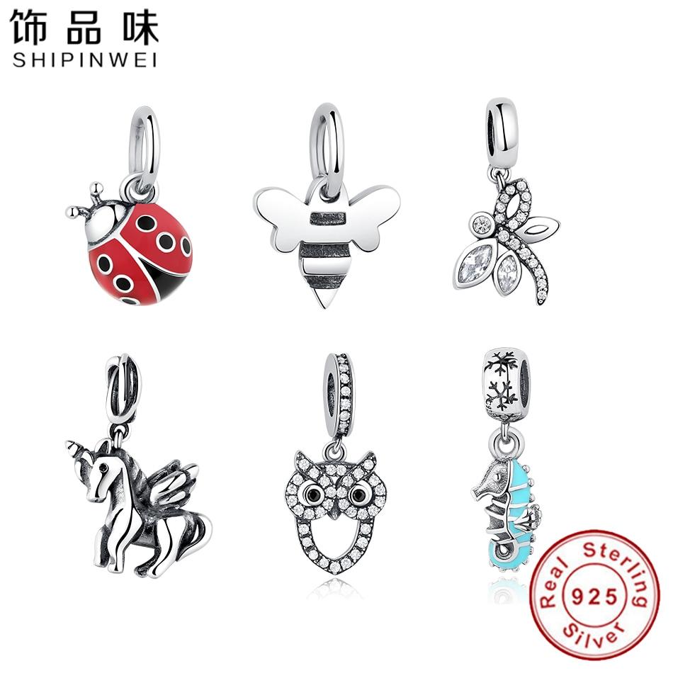 Shipinwei European Red Enamel Ladybug Charms Fit Original Pandora Bracelet Necklace Authentic 925 Sterling Silver Jewelry Women