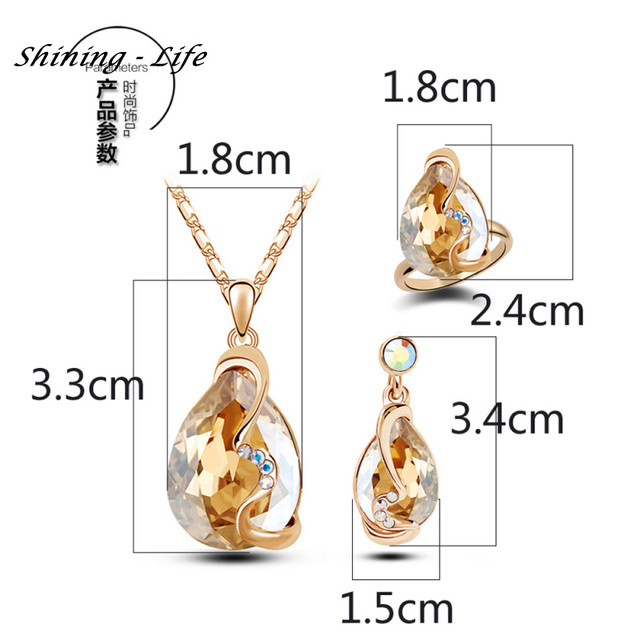 Fashion Jewelry Set Gold Plated Blue Crystal Drop Earring Pendant Necklace Wedding Ring Jewelry Set Gift for women ladies