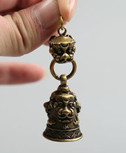 60MM/2.4Collect Curio Rare China Fengshui Small Bronze Exquisite Animal Lion Head Bell Pendant Statuary 31g