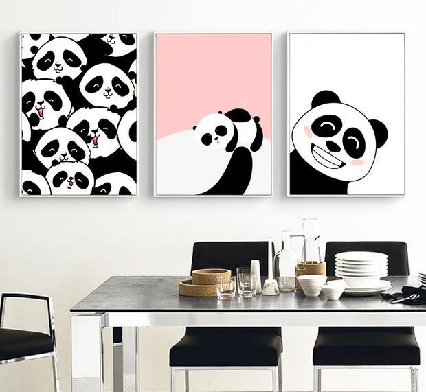 Modern Kawaii Animal Pandas In The World Canvas A4 Art