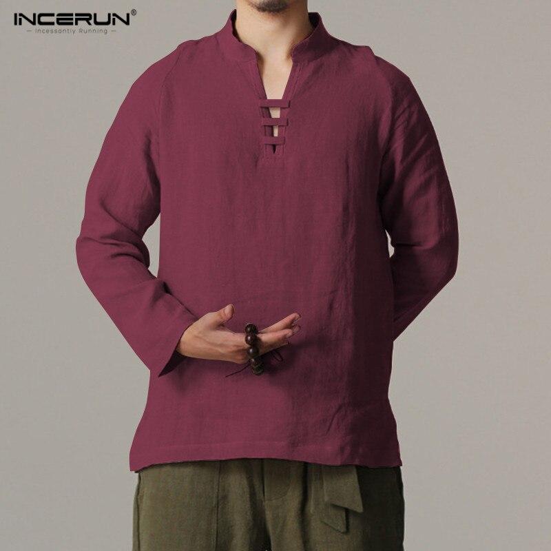 INCERUN Chinese style Mens Shirt Mens Long Sleeve Shirt Mens Retro Cotton Shirt Garment  ...