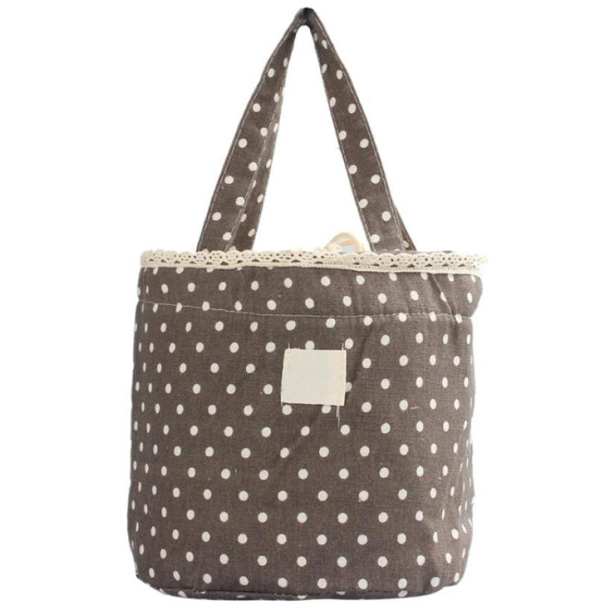 Cartoon Dot Lunch Bags Thermal Insulated Cooler Bags Women Kids Lunch Tote Fruit Foods Container Bags Bolsa Feminina