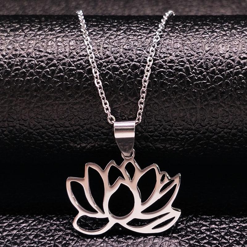 2019 nye sølvfarve rustfrit stål halskæder til kvinder blomst choker halskæder vedhæng smykker colgantes mujer moda N74150B