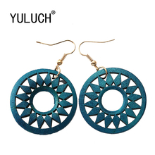 YULUCH 1Pair Fashion Indian Africa Wooden Earrings For Women Ethnic Long Wood Gear Drop Earring Jewelry