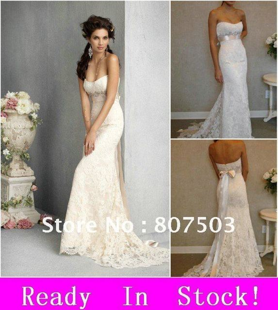 2012 fashion strapless cheap white ivory bridal lace beach