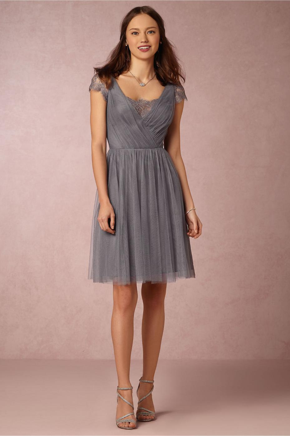 Wedding Grey Bridesmaid Dress popular grey bridesmaid dress buy cheap lots tea length dresses with short sleeves v neck chiffon ruffles lace silver dress