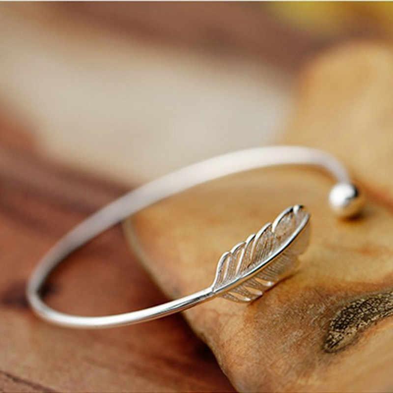 Baru Fashion 925 Sterling Silver Perhiasan Berkualitas Tinggi Wanita Sederhana Bulu Bola Kecil Terbuka Gelang & Gelang