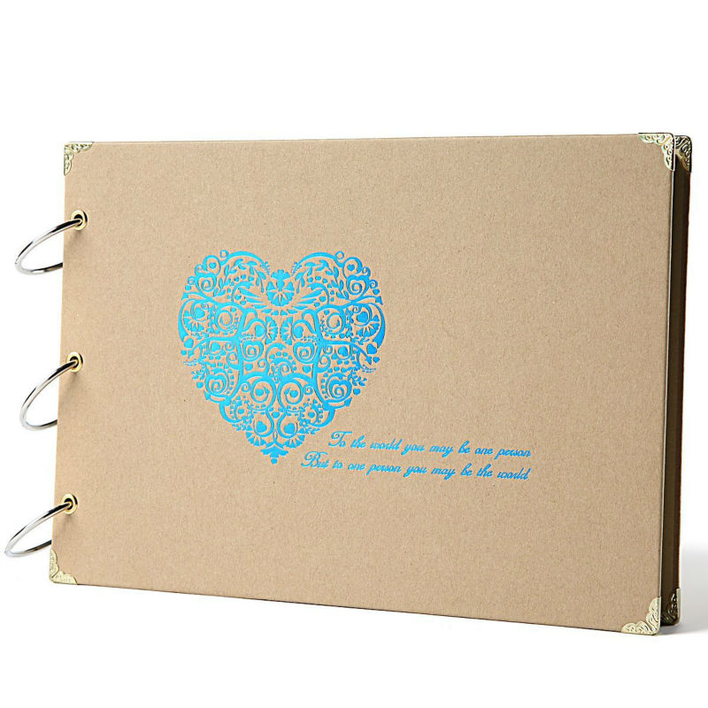 Scrapbook Silver Heart Printed Scrapbook Album With Scrapbooking Storage Box  For Gifts,Wedding Guestbook,