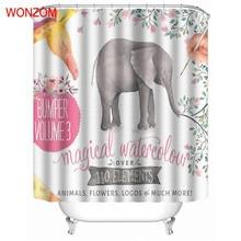 WONZOM Modern Shower Curtains with 12 Hooks Elephant Waterproof Curtain For Mildewproof 2017 Animal Bathroom Decor Gift