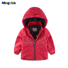 Mingkids Girl Pink PU Jacket Windbreaker Raincoat Windproof Waterproof padded with fleece lining European size
