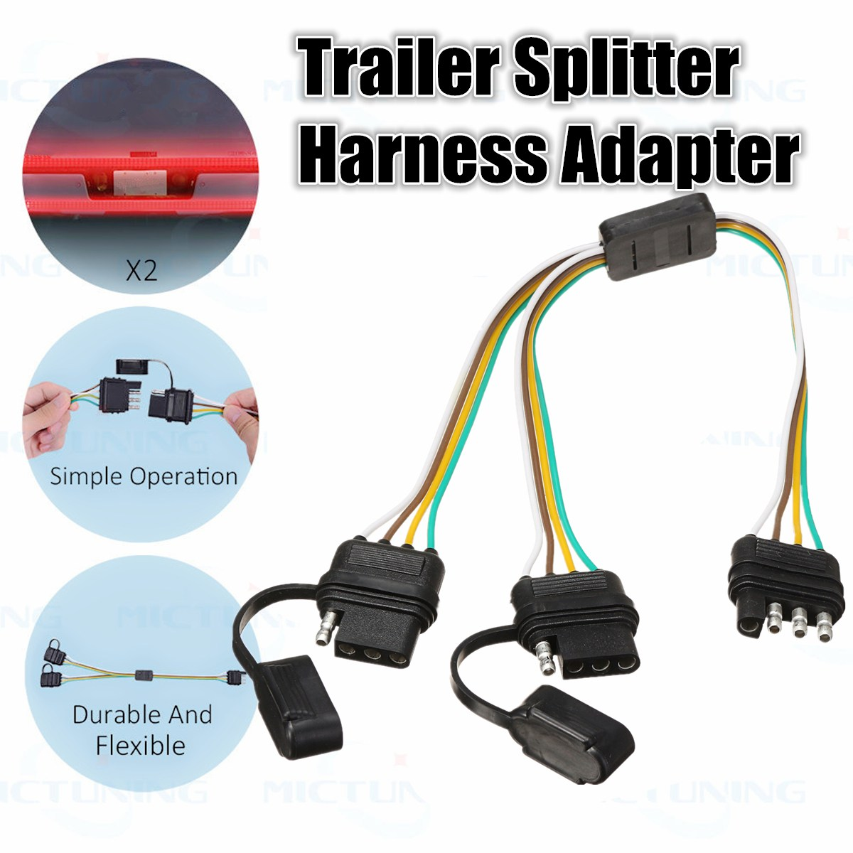 KROAK 2 Way 4 Pin Trailer Splitter Y Split Wiring Harness Adapter for LED  Tailgate Bar-in Cables, Adapters & Sockets from Automobiles & Motorcycles  on ...