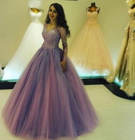Purple Long Sleeves Quinceanera Dresses Ball Gown Tulle Lace Appliques Vestidos De 15 Anos V Neck Floor Length Elegant Prom Gown