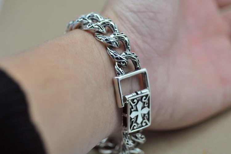 925 Men Bracelet homme silver bracelet S925 sterling hand chain men highend antique design antique design of the antique stone wing design chain bracelet