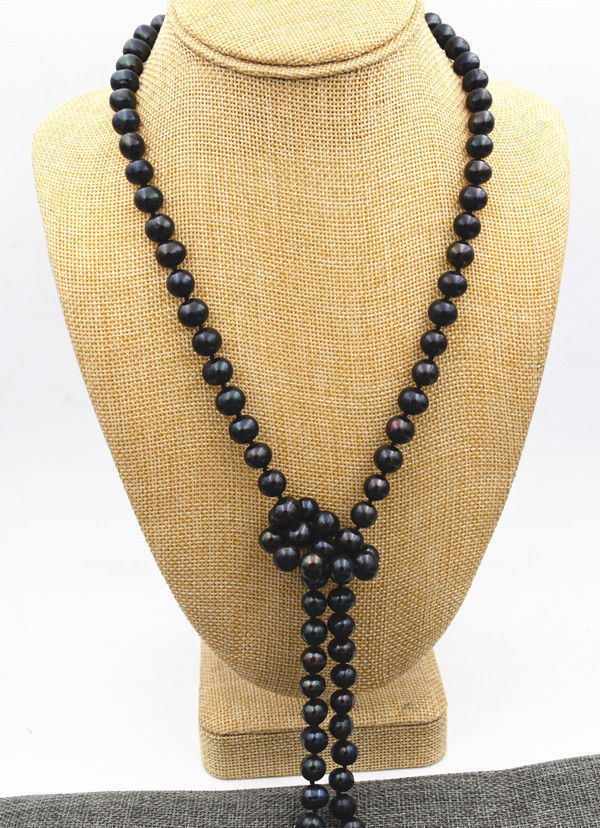 stunning AAA10-11mm freshwater round black pearl necklace 38inch 925silverstunning AAA10-11mm freshwater round black pearl necklace 38inch 925silver