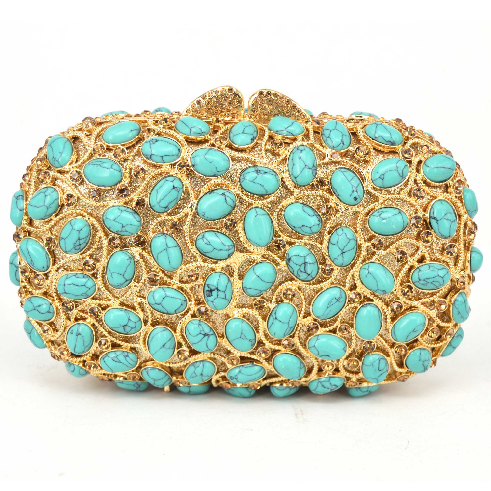Detail Feedback Questions about Luxury turquoise Crystal Evening Bag ... ac46afe0de45
