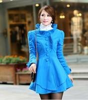 Casaco Feminino Inverno 2014 Women Wool Winter Keep Warm Blue Camel Rose Pleated Long Coat Flower Collar J18