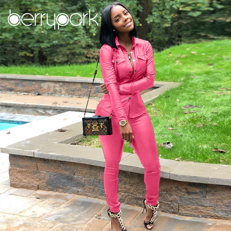 BerryPark High Fashion PU Leather 2Pcs Set 2019 NEW Women Turn-Down Collar Pockets Jacket and Pencil Pants Outfits Dropshipping 1