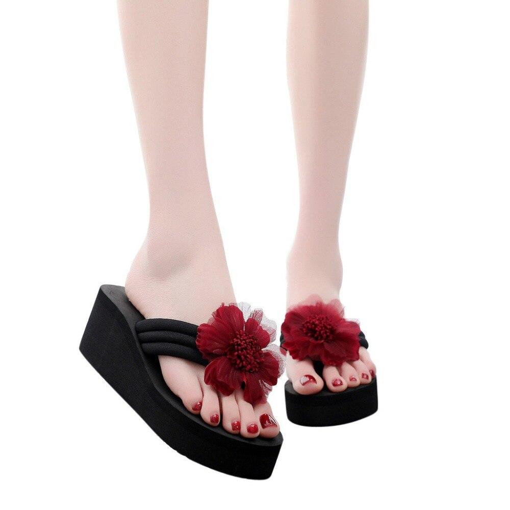 2019 Hausschuhe Frauen Damen Sommer Blume Hause Keile Strand Schuhe Sandalen Flip-flops Hausschuhe Runde Kappe Hausschuhe Schuhe