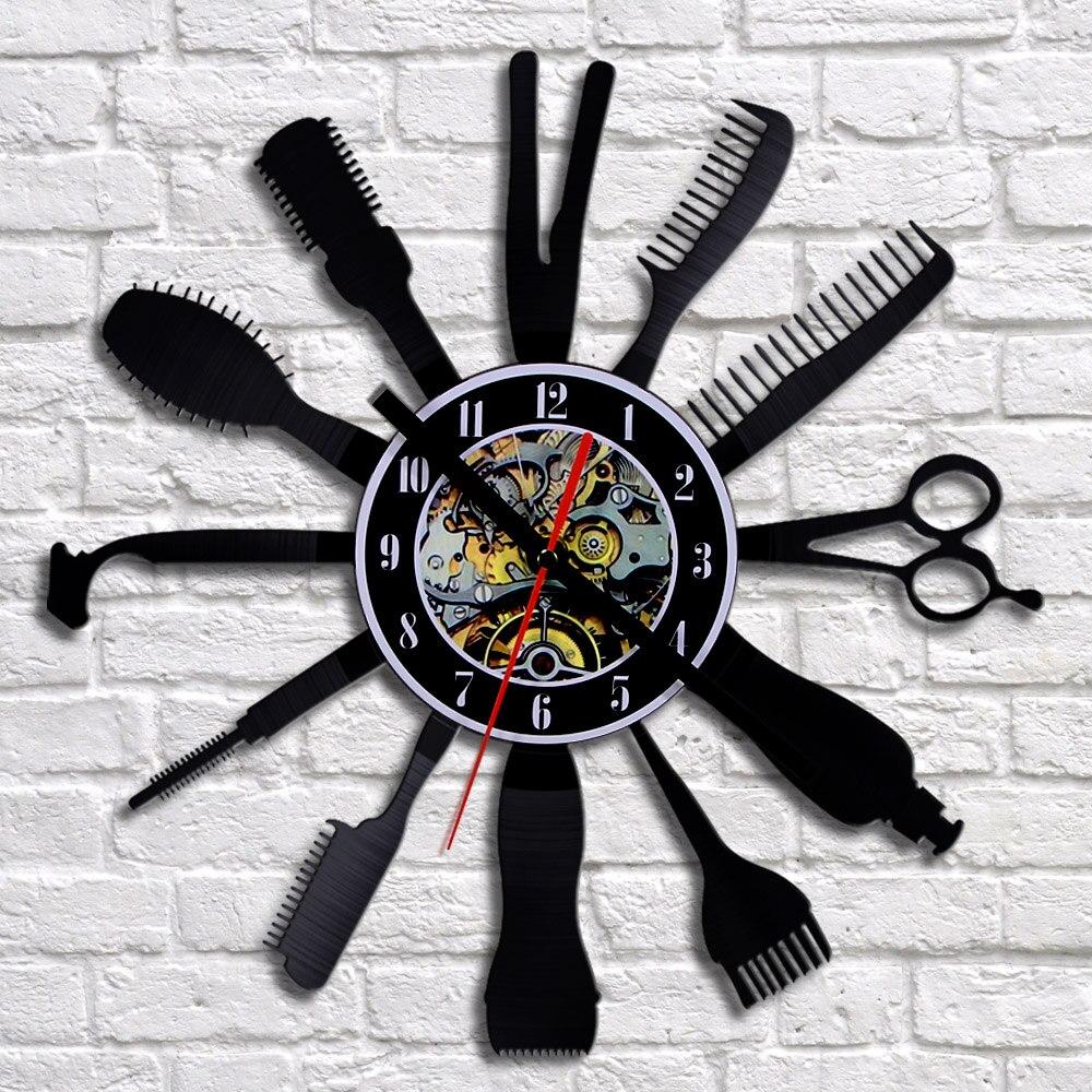 Online buy wholesale wall clock shops from china wall clock shops free shipping 1piece hair beauty salon vinyl wall clock hairdresser barber shop art decor clock 3d amipublicfo Choice Image