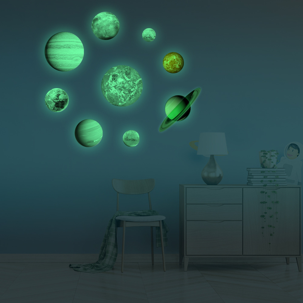 3D Glow Decal Sticker Art Wall Stickers Planet Luminous Removable Room Decor