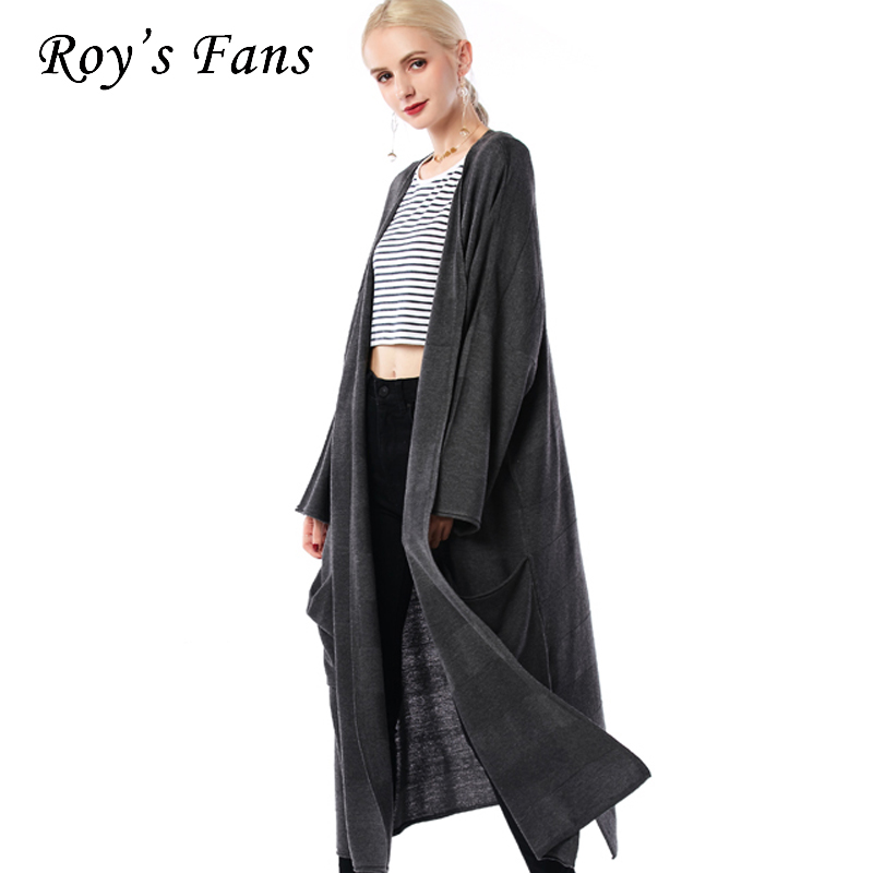 Roys Fans Women Loose Casual Sweater Long Sleeve Solid Fashion Autumn Female Long Cardigan Sweater ...