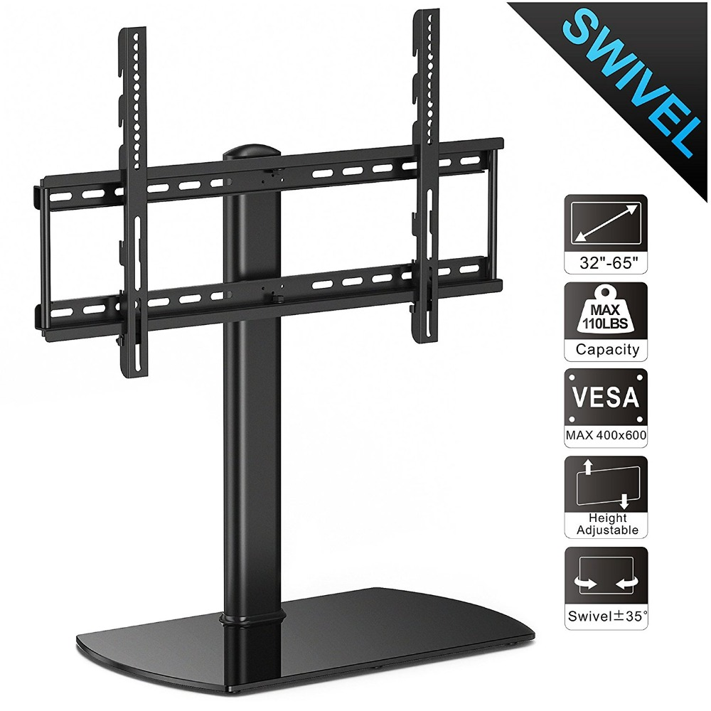 Fitueyes Swivel Universal TV Stand/Base Tabletop TV Stand with mount for 32 to 65 inch Flat screen Tvs/xbox One/tv Component fitueyes universal swivel tv stand base with mount height adjustable for 26 to 55 tv tt106001mb
