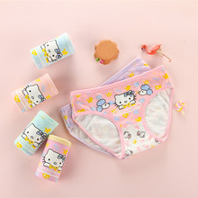 hot deal buy 4pcs/ lot kids underwear cotton panties 2018 new clothing cute cat cartoon printed girls baby briefs boxer underpants