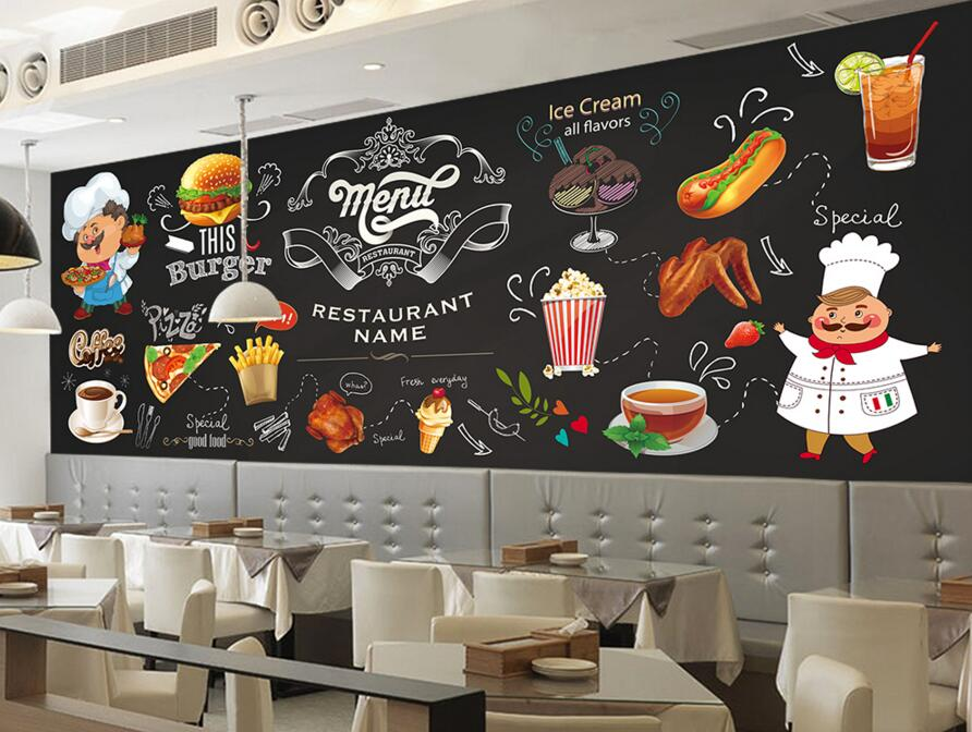 Custom modern wallpaper 3d photo mural for western for Cafe mural wallpaper