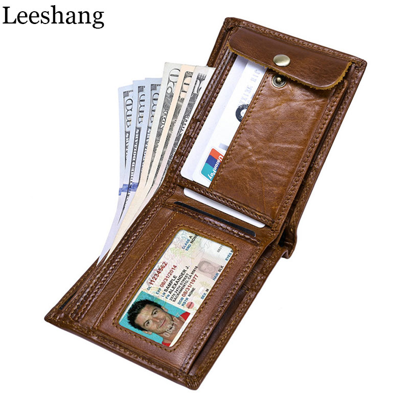 Leeshang Genuine Cow Leather Men Wallet Fashion Purse Brand Trifold Design High Quality Male Cudan ID Card Holder Walet