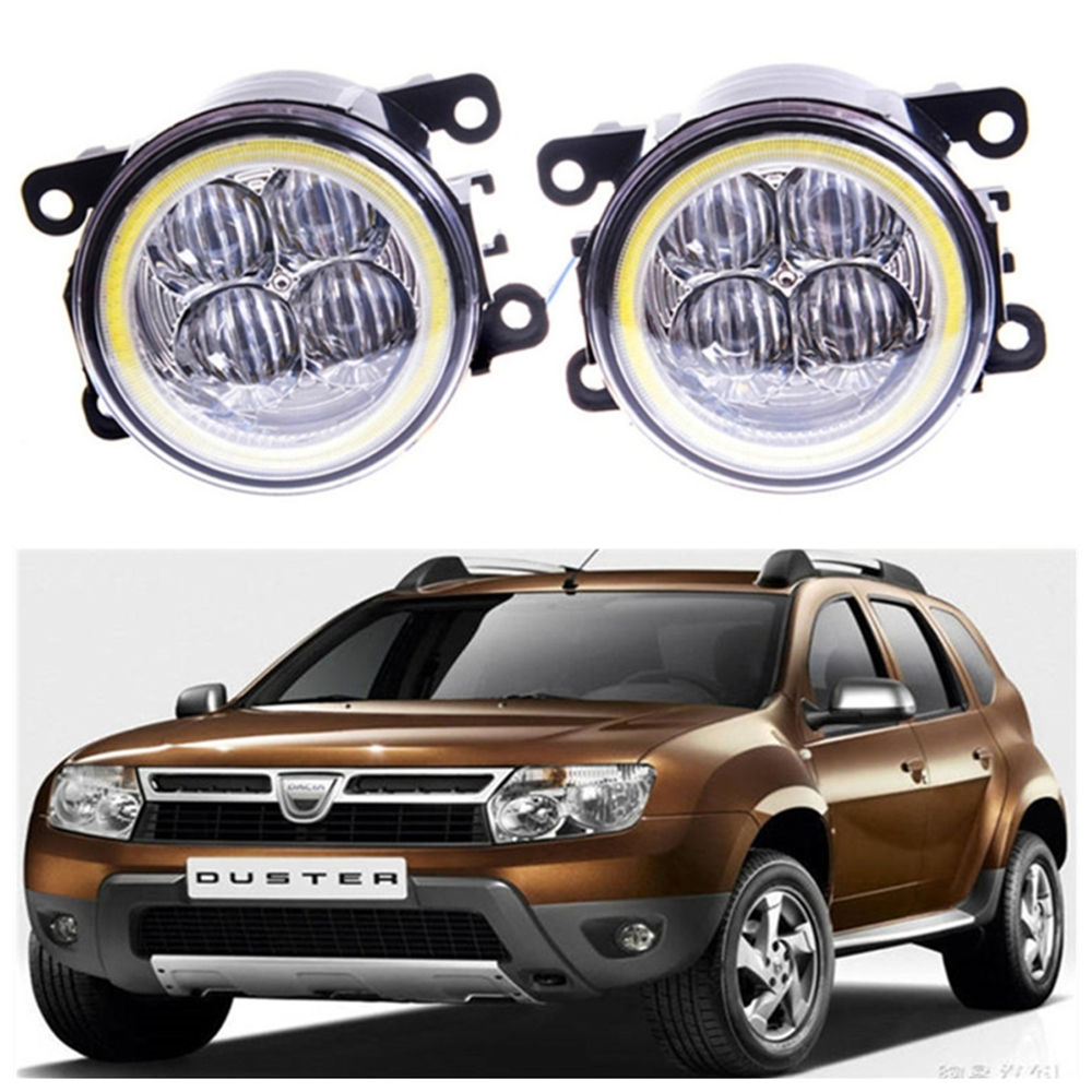 For DACIA Duster Closed Off-Road Vehicle  2010-2015 Angel eye LED fog lamp 9CM daytime running light Spotlight DRL OCB lens free shipping 2pcs lot car styling lamp 7443 80w daytime running light with daytime running light for dacia duster hs 2010