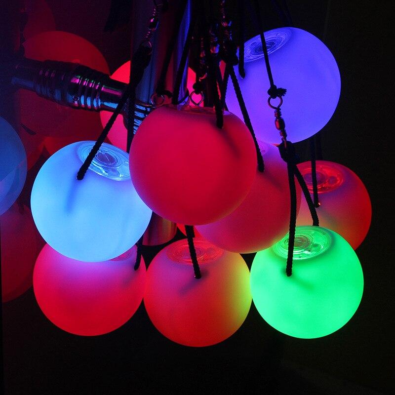 2 peças bolas desempenho de palco led poi jogado bolas para o nível de dança do ventre mão adereços acessórios de dança do ventre