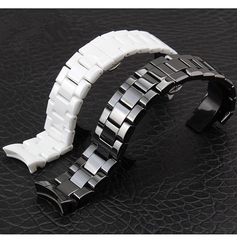 TJP 18mm 22mm Haute Qualité En Céramique AR Montre de Courroie De bande Blanc Noir Diamant Montre Fit ArmaniAR1400 AR1403 AR1410 AR1442 Bracelet