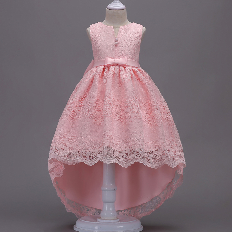 New Brand Princess Kids Girls Elegant Wedding Dress Flower Girl Dress Princess Party Pageant Formal Long Tailling Lace Tulle