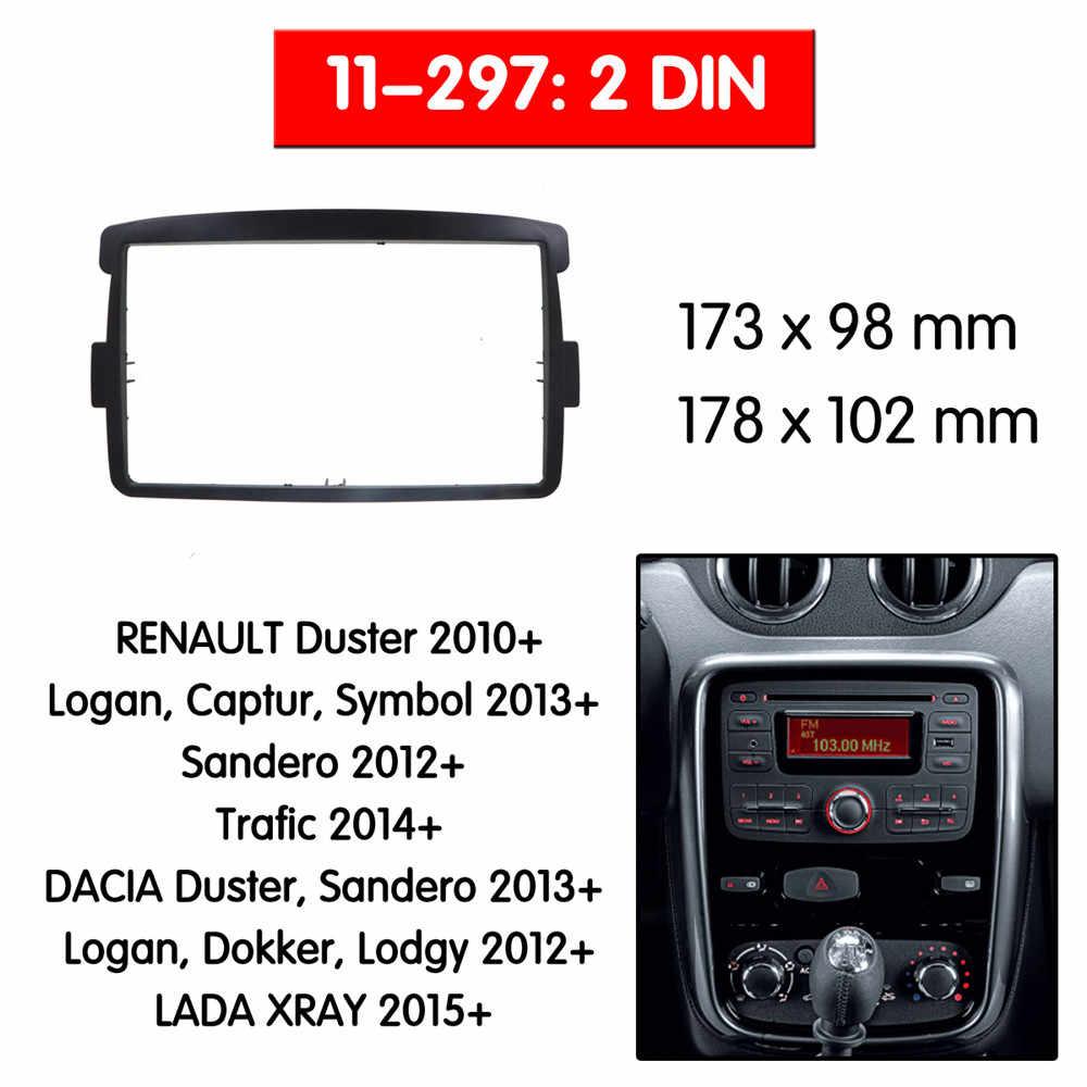 Автомобильный Радио фасции мультимедиа рамка Комплект для RENAULT DUSTER 2010 + Радио стерео аудио рамка Переходная панель отделка Dash 2 Din монтажный комплект