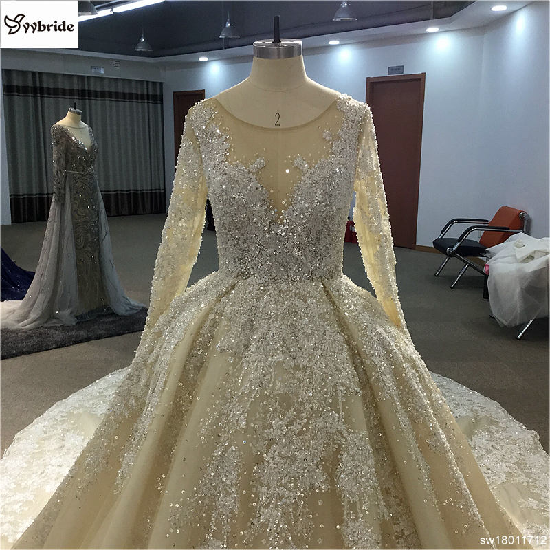 sw18011712-1  Surmount Design Elegant Lace Wedding Dresses Scoop Neck Long Sleeves Vintage Wedding Gown Floor Length Royal Train Wedding Dress HTB1pBH ocbI8KJjy1zdq6ze1VXaK