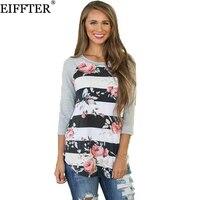EIFFTER Autumn Women Floral Print T Shirt New Fashion Ladies Three Quarter O Neck Patchwork Tees