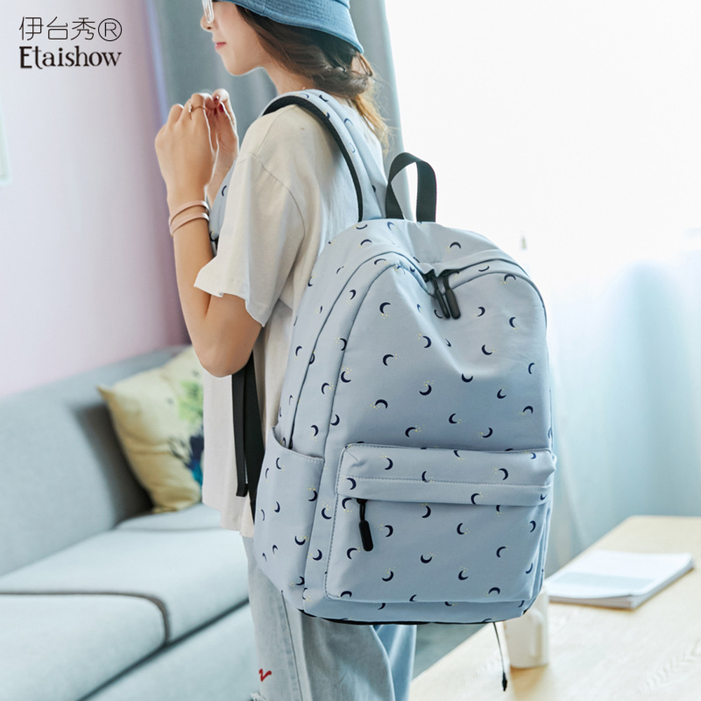 Cotton Backpack Korean Student Tricolor School Bag Girl Casual Print Campus Travel
