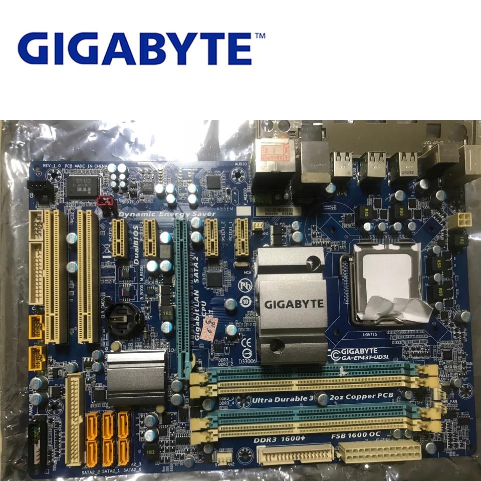 LGA 775 DDR3 Gigabyte GA-EP43T-UD3L 100% Original Motherboard USB2.0 16G P43 EP43T-UD3L Desktop Main board EP43T-UD3L Used