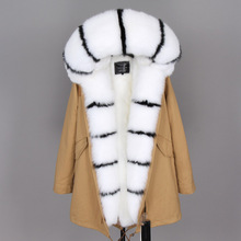 maomaokong winter jacket women real fur coat natural fox fur collar long parkas